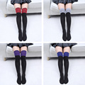 Women Thigh High Dual Colors Stripe Referee Over Knee Stockings Leg Warmer WOMJL0007