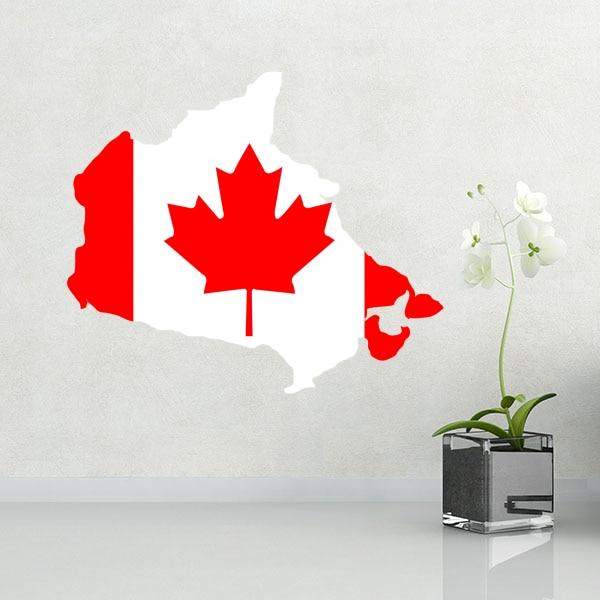 Flaggenkarte von Kanada Wand Vinyl Aufkleber maßgeschneiderte Hauptdekoration Wandaufkleber Hochzeitsdekoration PVC Tapete Modedesign