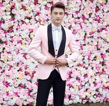Blazer men groom suit set with pants mens wedding suits costume singer star style dance stage clothing formal dress pink jacket pants red man s suit groom dress singer master of ceremonies host stage show serve clothing mens suits wedding