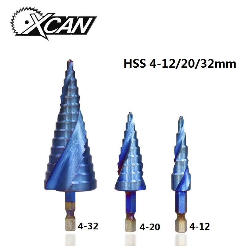 XCAN 3pcs HSS 4-12/20/32mm Step Drill Bit Nano Blue Coated Hole Cutter Hex Shank Spiral Core Drill Bit