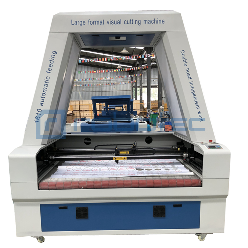 Large format 1610 dual independent heads auto feeding laser cutting machine with full visual CCD camera