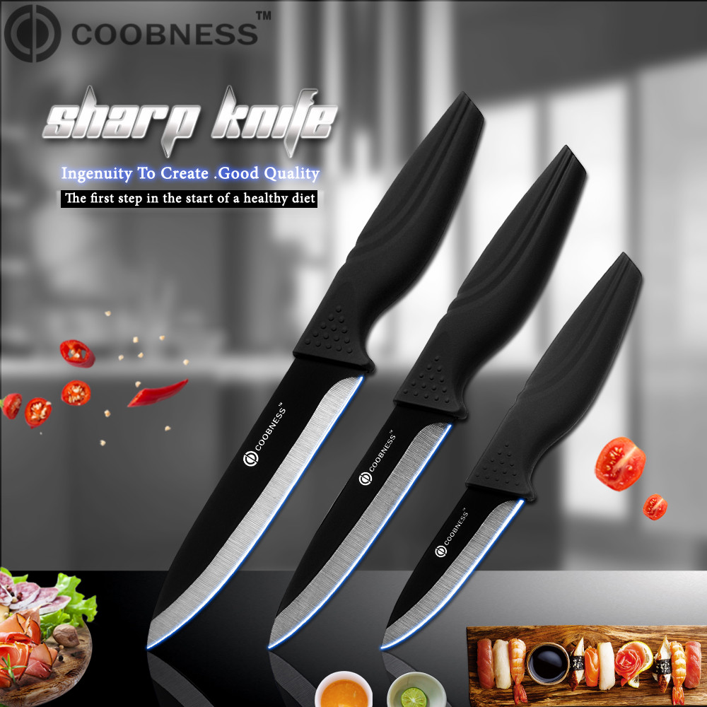 COOBNESS Kitchen Knife Black-Handle Professional Blade Brand Ceramic 3-4-5-6-Top-Grade