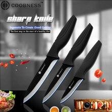"""COOBNESS фирменный Профессиональный """" 4"""" """" 6"""" Керамический нож высшего класса с черной ручкой, кухонный нож, набор из 3 предметов, только для продажи"""