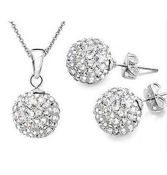 Necklace Jewelry-Set Ball-Earrings Women Pendant White Fashion 10mm 925-Colour