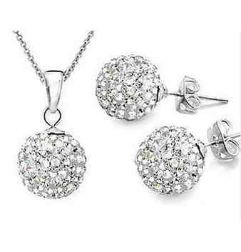 Fashion 925 Colour women Jewelry  white 10mm ball Earrings Pendant Necklace Jewelry Set
