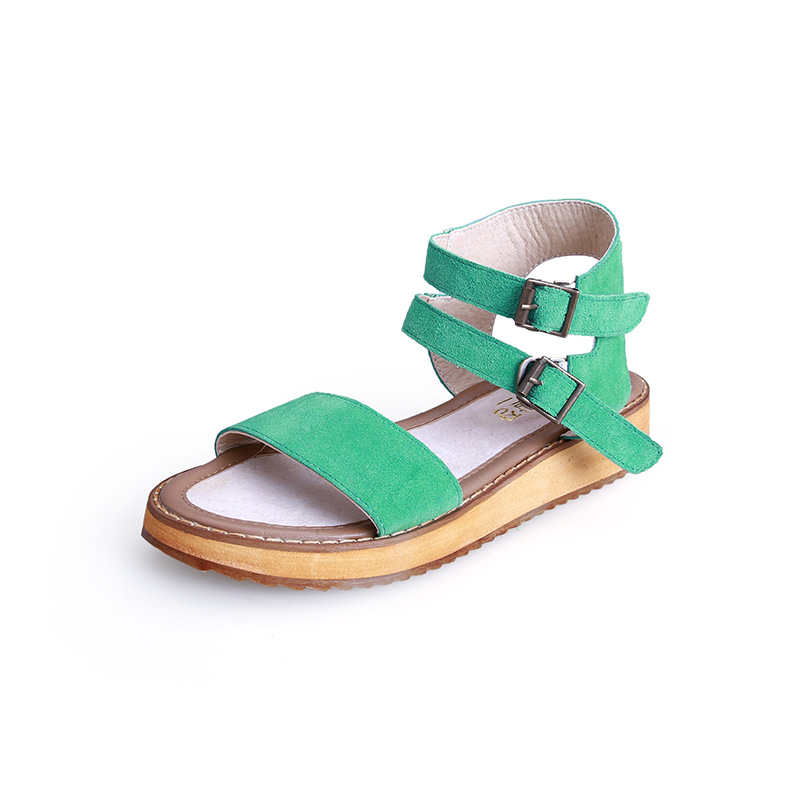 Summer Gladiator Sandals Platform Genuine Leather Casual Shoes Rome Ankle High Hollow Out Women Size 35-43 Open Toe Green Shoes phyanic 2017 gladiator sandals gold silver shoes woman summer platform wedges glitters creepers casual women shoes phy3323