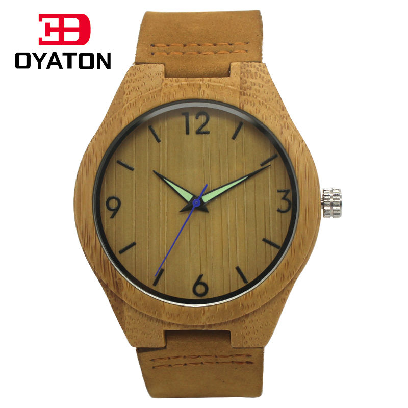 Men s Bamboo Wooden Wristwatches With Genuine Cowhide Leather Band Luxury Wood Watches for Men as