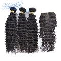 New star hair Peruvian virgin hair with closure Peruvian deep curl 3 bundles with 1 middle part lace deep curl closure
