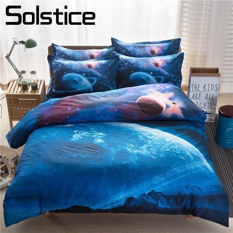 Solstice Textile de Maison 3D Univers Bleu Ensembles de Literie Enfant Adulte Adolescente Linge Planète Housse de Couette Taie D'oreiller Plat Lit Feuilles Reine