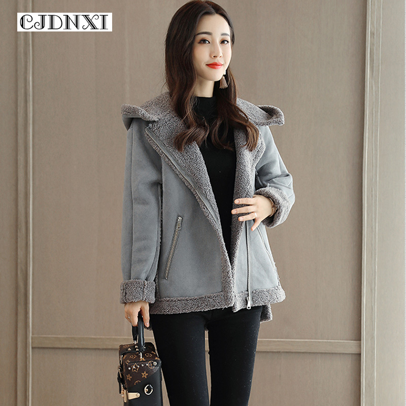 CJDNXI Women Spring Winter Wool Hooded Coat Deerskin Cashmere Lambswool Coats Lady Short Jackets Manteau Femme Hiver Grey Brown