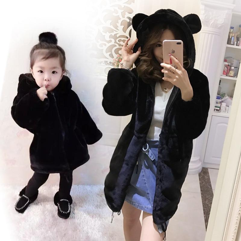Famille automne hiver vêtements fausse fourrure de lapin maman mère et fille vêtements manteaux velours vêtements maman ours bébé ours vêtements