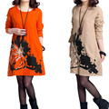 2016 Spring and Autumn Vestido Femininos Plus Size Loose Embroidered Floral Cotton Dress O-Neck Long-sleeved Vintage Dress JX731
