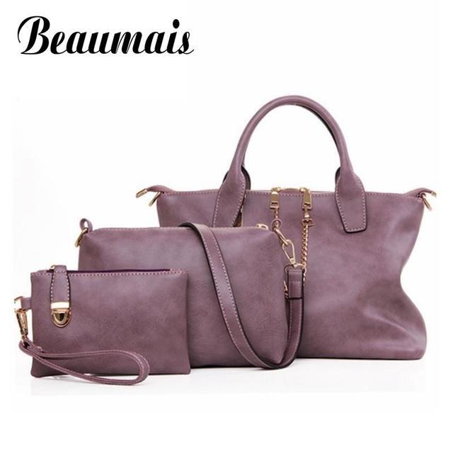 Beaumais Famous Brand 3pcs/set Vintage Composite Bags Women Messenger Bags Small Crossbody Bags Top-Handle Bags Handbags WB005