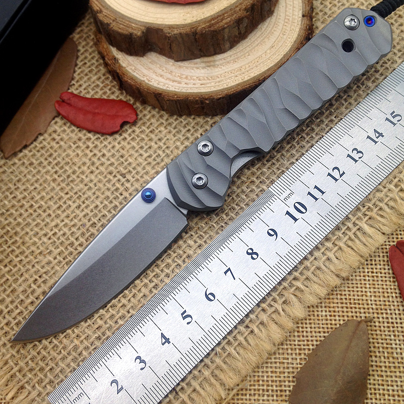 Bairu CR Folding Knife Tactical D2 Steel Blade Wavy TC4 Titanium Handle Outdoor Camping Knives Pocket
