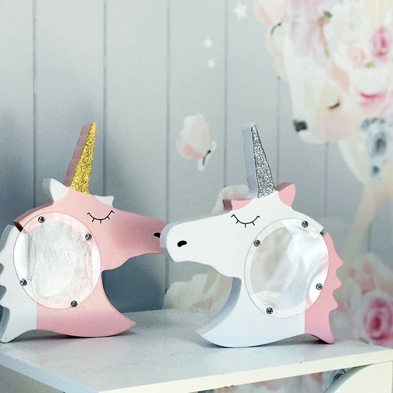 Unicorn Piggy Bank Nordic Style Home Decor Creative Wooden Unicorn Piggy Bank Kids' Bedroom Decoration Birthday & Festival Gift