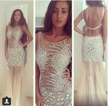 Mantel Lange Einbau Sparkly Tulle Kristallabendkleid Sexy Durchsichtig Open Back Luxus Abendkleid Vestido com pedras
