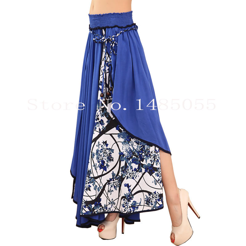 Fashion High Waist Maxi Skirts Womens Summer New 2017 Casual Printed Floral Patchwork Asymmetric Pleated Big Hem Lady Long Skirt