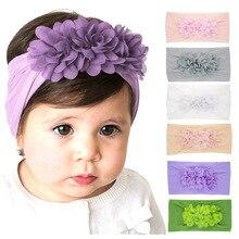 New Baby Girl Headbands Three Mini Chiffon Flower Hair Bows Elastic Soft Nylon Wide Hair Band Christmas Hair Accessories