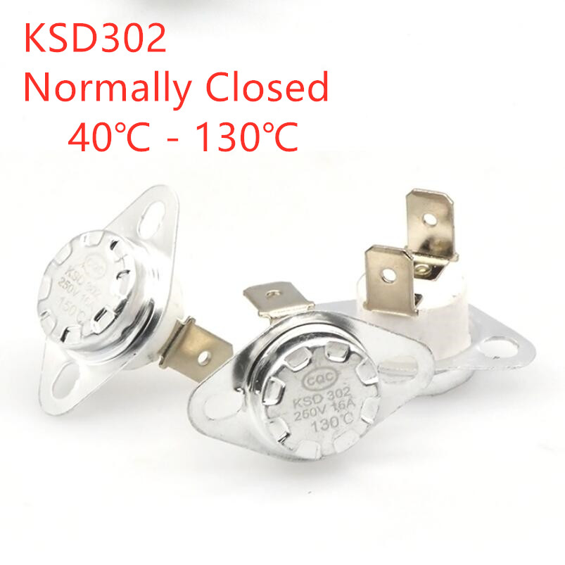2Pcs KSD302 <font><b>16A</b></font> <font><b>250V</b></font> 40-130 degree Ceramic KSD302 Normally Closed Temperature Switch <font><b>Thermostat</b></font> 85 Degrees 90 C 45C image
