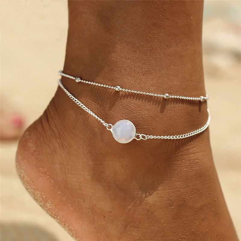 Boho Opal Female Anklets Barefoot Sandals Bracelets For Women Bohemian Anklet Fashion Foot Jewelry Beach Accessories Party Gift