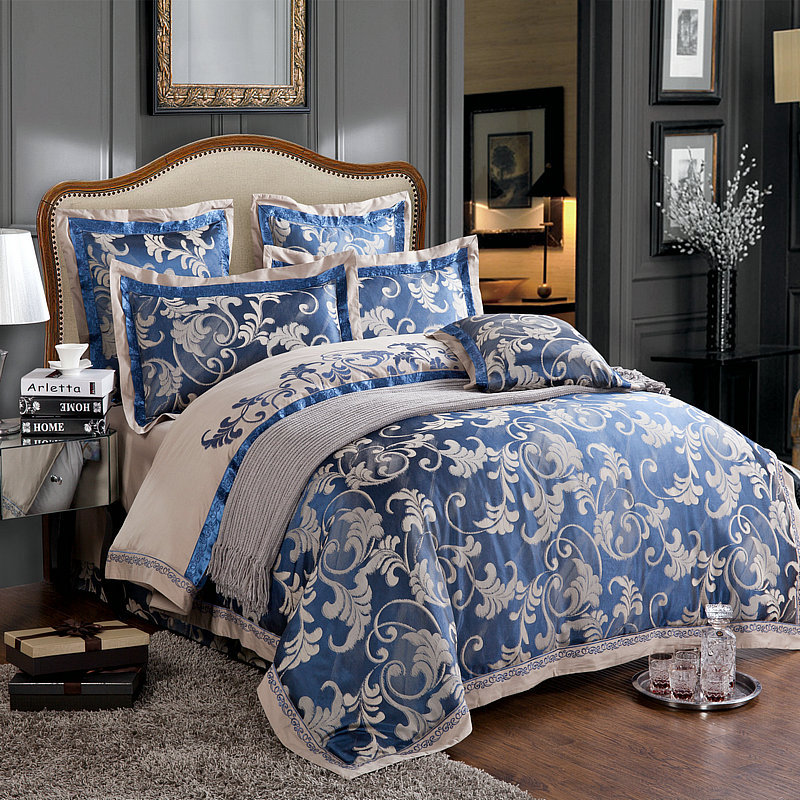 6PC Luxury Chinese Silk Duvet Cover Set Dark Blue And Grey