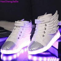 HaoChengJiaDe Children Breathable Sneakers With Light Sport Led USB Luminous Lighted Shoes For Kids Boys Casual