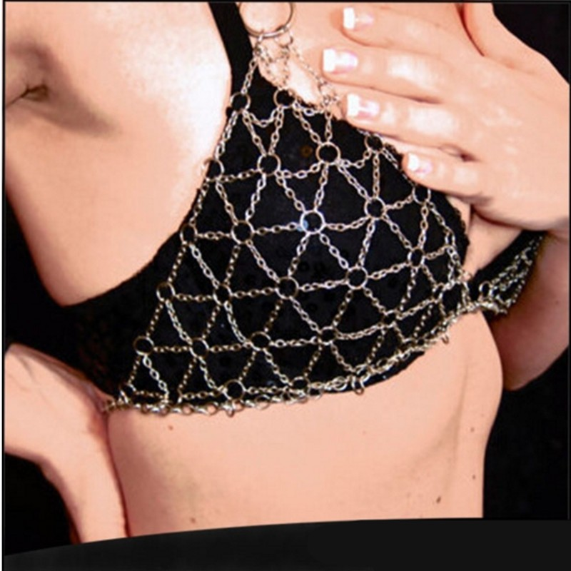 Summer Bikini Bra Body Chain Sexy Triangle Net Harness Chainmail Necklace for Women 6L3005