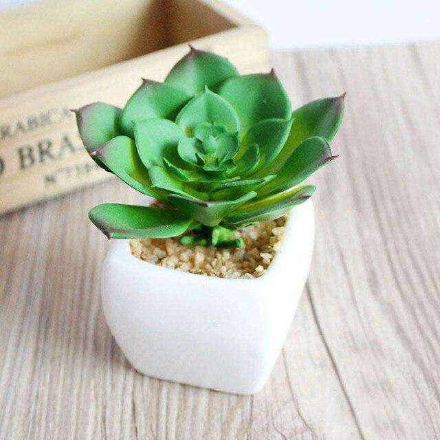 1 unid verdes pequeñas plantas suculentas artificiales boda bonsai