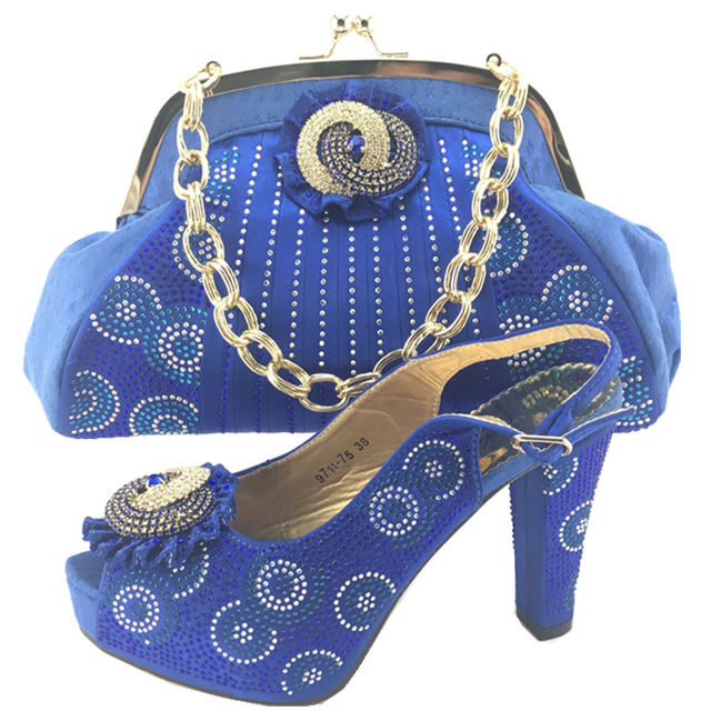 New Arrival Royal Blue Color African Shoes and Matching Bags Italian Shoe  and Bag Set for b6a2b8523816