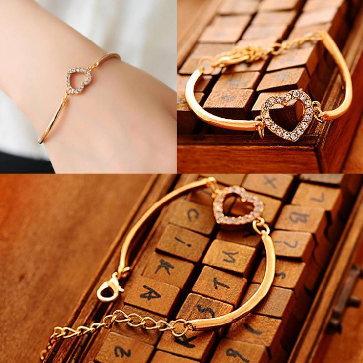 2017 New Fashion Style Fashionable And Classic Love Heart Shaped Woman Chain Bracelet - Color Gold Drop Shopping