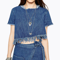 Summer Fashion Brand Women Causal Loose Denim T Shirts O Neck Short Tshirts Tops Women Jeans