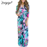 RUIYIGE Floral Print Long Maxi Dress Summer Half Sleeves V Neck Boho Beach Bandage Sundress Vintage