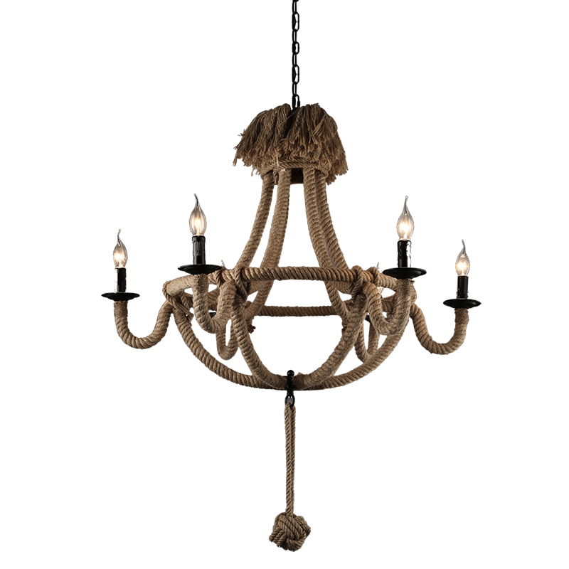 Loft Vintage Countryside retro iron Rust color Hemp rope chandelier 2/6 heads coffee/clothing shop Restaurant living room candle the cafe shop vintage clothing store small chandelier bar loft iron chandelier geometry character