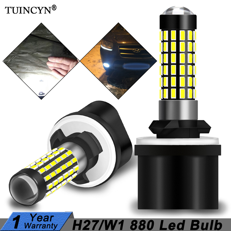 TUINCYN 2pcs H27W/1 880 Led Bulbs Fog Lights For Cars Led Fog Driving Lamp 78SMD 3014 Car Light Sourse 6000K White H27W1 H27 Led