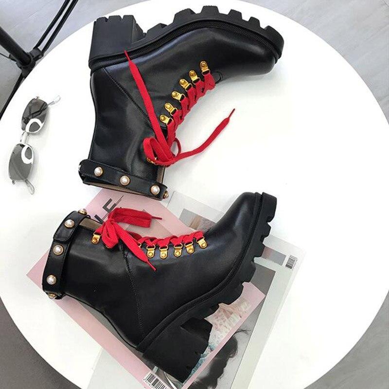 Botas de tobillo negras de cuero Real 2019 para mujer, botas de tacón alto con remaches de perlas de Color mezclado, botas Martin de moda para mujer - 6