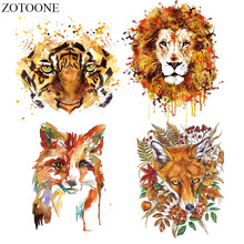 ZOTOONE Iron-on Transfer Clothes Lion Fox Tiger Patches Stickers For T-shirt Household DIY Decoration Appliqued Tote Curtain