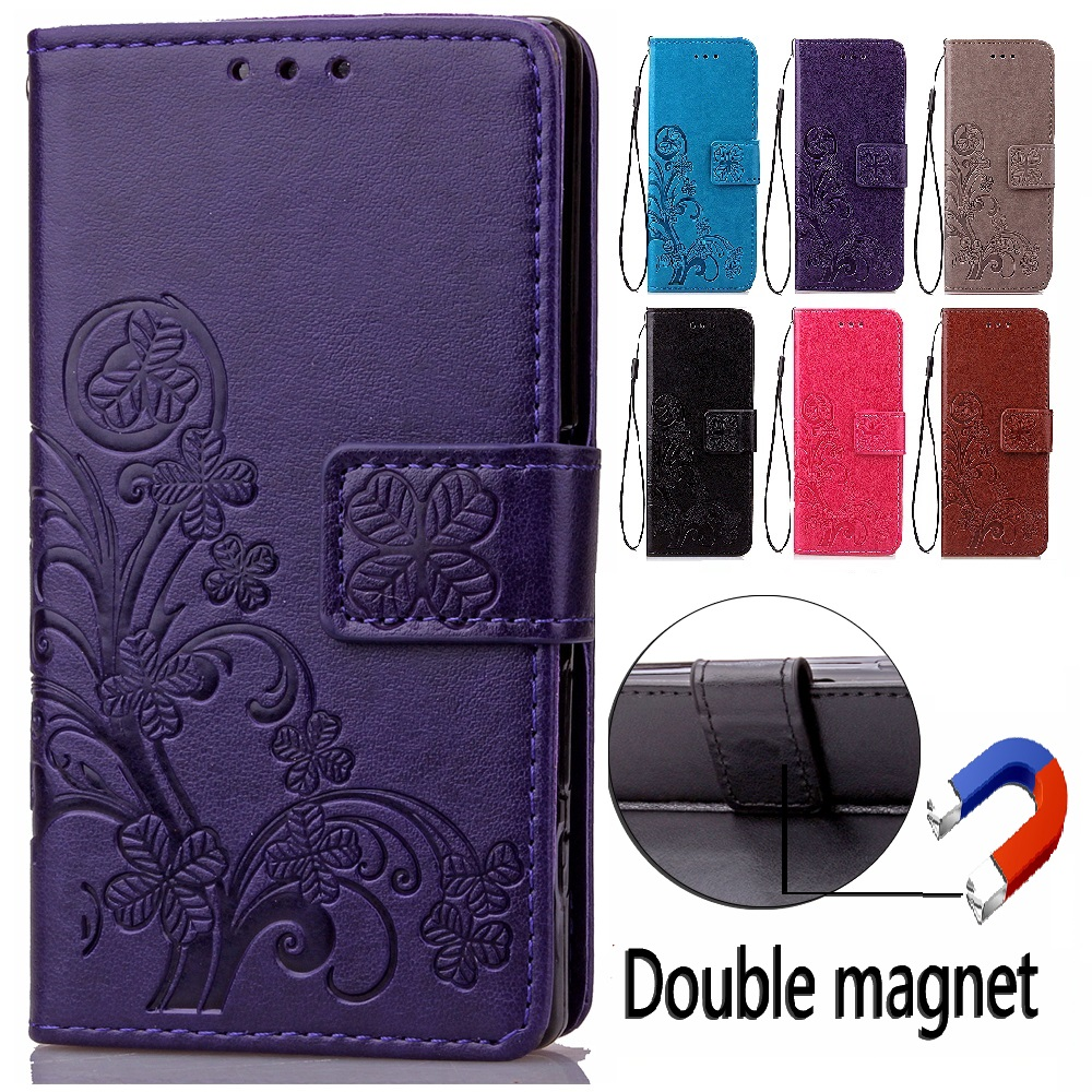 Lucky Clover Embossing Leather Cover for Xiaomi Red Rice 2a / Hongmi 2 / Redmi 2 2A Case With Stand Mobile Phone Accessory