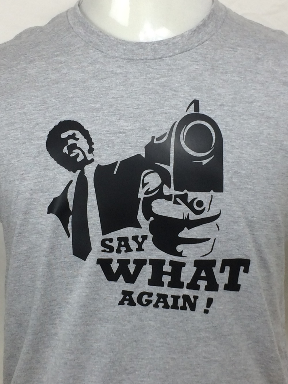 2017 New Arrive Funny PULP FICTION SAY WHAT AGAIN Cotton T Shirt for men