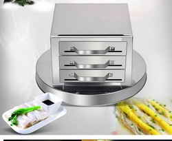Drawer pull rice rolls machine home machine Fen Chang stainless steel 3 grid steamer steaming plate