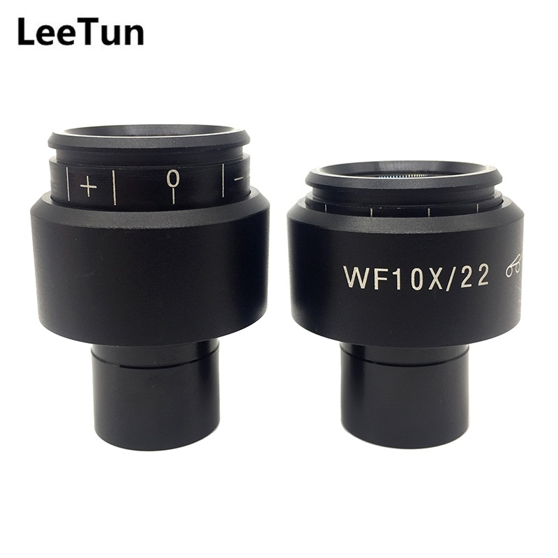 A Pair WF10X/22 Biological Microscope Eyepiece Lens High Eyepoint Mounting Size 23.2mm Wide Field View 22mm Diopter Adjustment стоимость