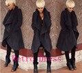 Nova moda primavera 2016 queda casaco de inverno mulheres sexy black manga comprida cardigan fino de lã brasão cabo marca casaco feminino