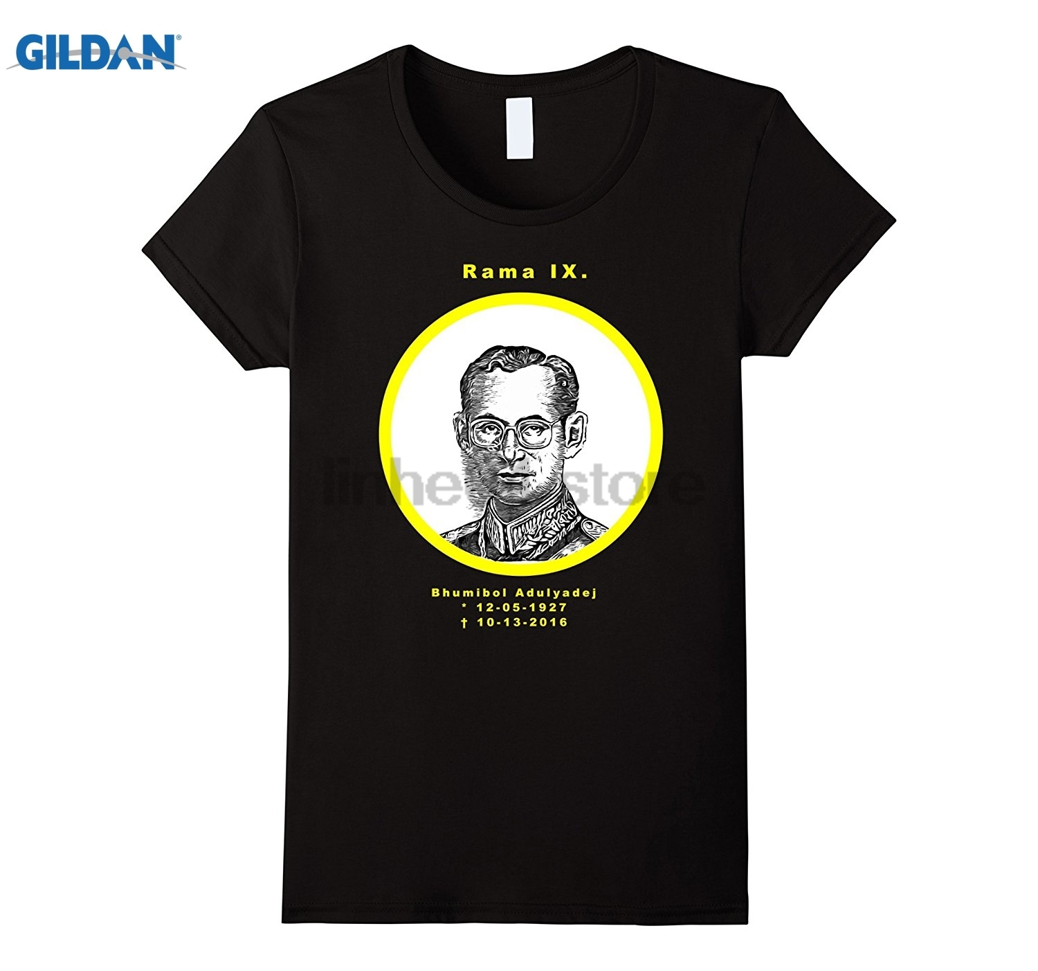 GILDAN Rama IX. Bhumibol Adulyadej Thailand King is dead T-Shirt glasses Womens T-shirt ...