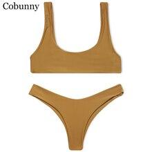 Cobunny Brand New Style Beach Swimsuit Women Sexy Bikini 2017 Sport Bikini Set Backless Solid Color Summer Beach Swimming Suit