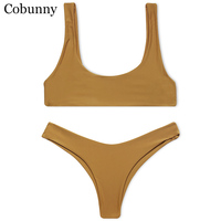 Cobunny Brand New Style Beach Swimsuit Women Sexy Bikini 2017 Sport Bikini Set Backless Solid Color