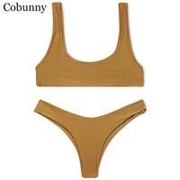 Cobunny Brand New Style Beach Swimsuit Women Sexy Bikini 2017 Sport Bikini Set Backless Solid Color