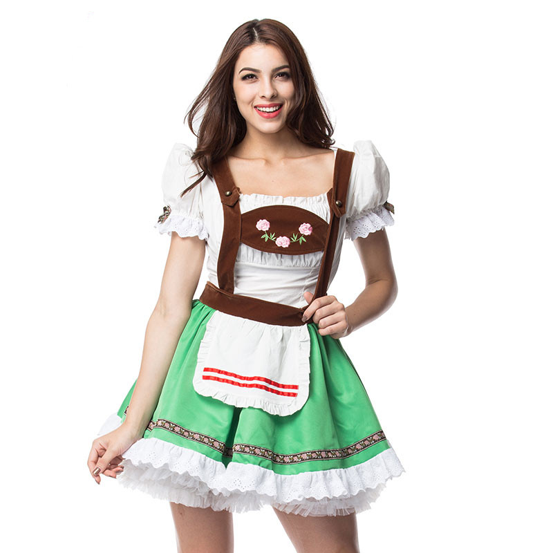 German Oktoberfest Beer Girl Costume Women Maid Fancy Dress Outfit for Halloween