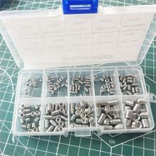 цена на 300PCS DIN916 Hex Socket Set Screw Kit M3 M4 M5 A2-70 Stainless Steel 304 Allen Head Socket Hex Set Grub Screw Assortment kit