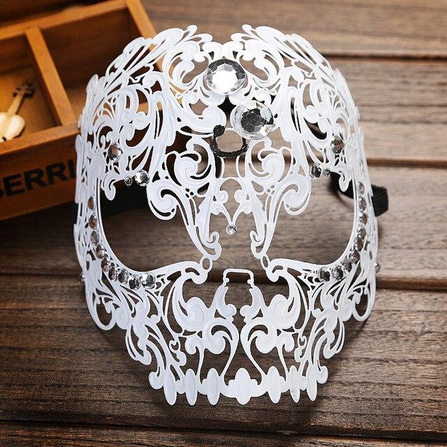 7f8b184871f0 High Quality Metal Filigree Halloween Skull Rhinestone Mask Diamond Ball  Full Face Venetian Costume Masquerade Tiger Head Mask