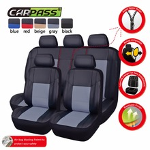 CAR PASS Pu Leather Black/Beige/Red/Blue/Gray Car Seat Covers Front and Rear Seat Covers Full Sets Car Interior For  hyundai