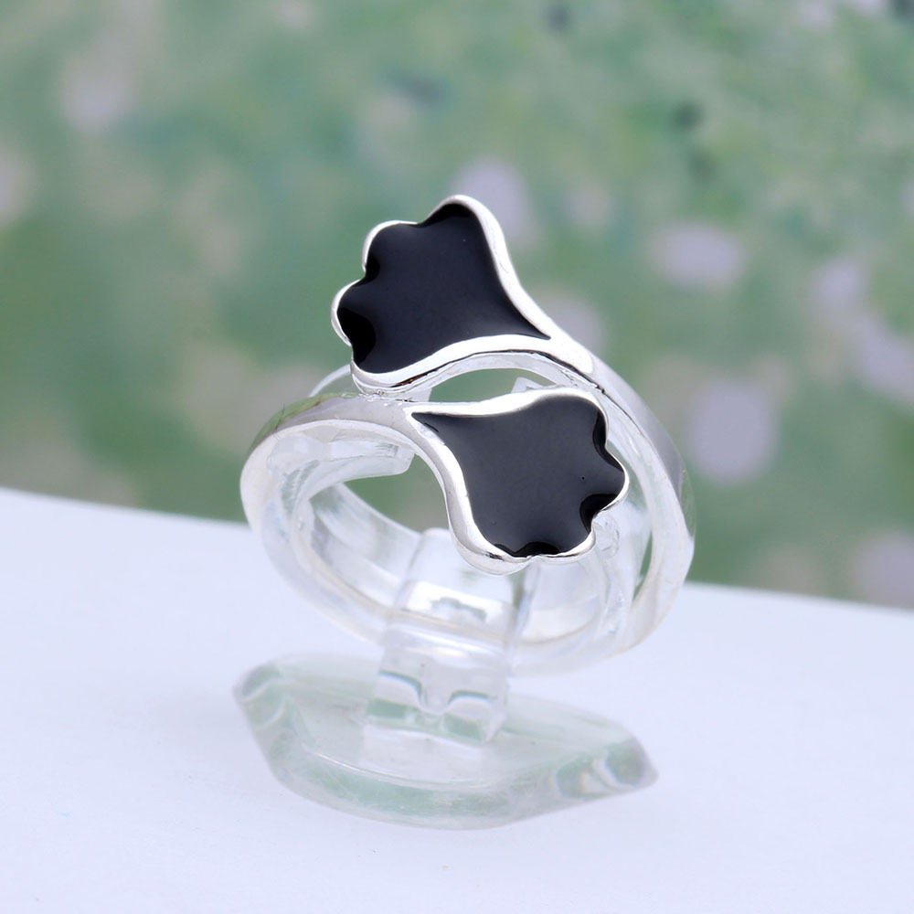 2018 spring enamel black leaf Ginkgo biloba silver color rings for women flower adjustable Wedding luxury gift Engagement Ring
